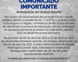 Comunicado Importante da Secretaria Municipal de Educação