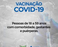Prefeitura anuncia vacinação contra a Covid-19 para pessoas com comorbidades, gestantes e puérperas